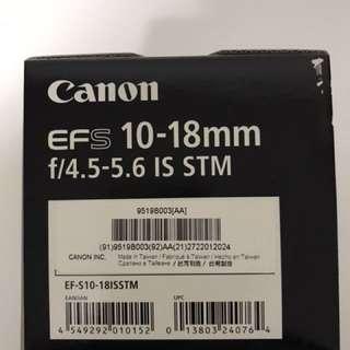 Canon EFS 10-18mm lens