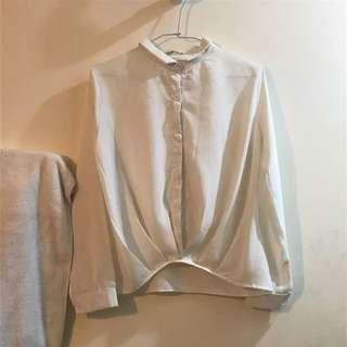 韓系雪紡縮腰襯衫