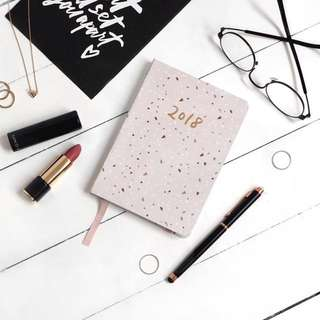 THEPAPERBUNNY COMPACT BLUSH TERRAZZO 2018 PLANNER