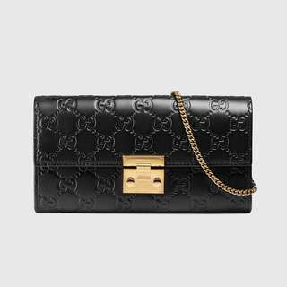 Gucci, Padlock Continental Wallet Gucci Signature Black