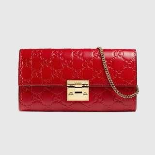 Gucci,Padlock Continental Wallet Gucci Signature Red