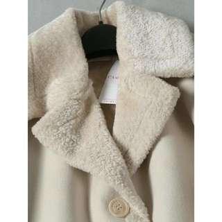 OshareGirl 12 法國單仿羊絨毛麂皮一體加厚保暖純色拼接大衣外套