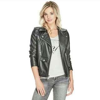 Guess Leather Black Zipper Moto Jacket