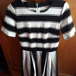 Black & white dress (stripes)