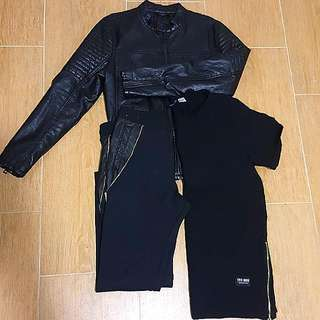 3p Men's Set - Black On Black