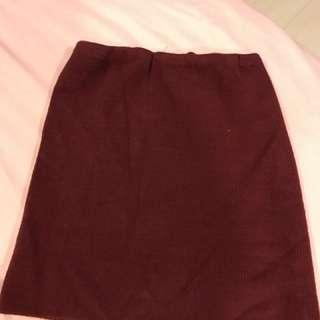 全新 酒紅色針織性感小資窄裙XS/S