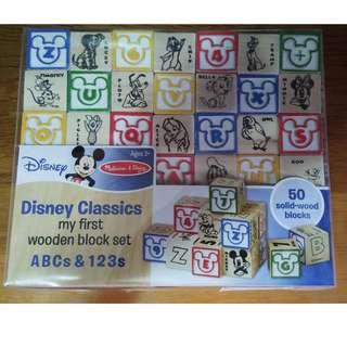 新年減價 [全新] Disney Wooden Block Set ABC 123 小積木