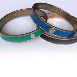 MIMCO bangles. 1x blue 1x green 1x black.