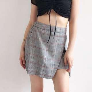 Tartan / Check mini skirt with faux slit