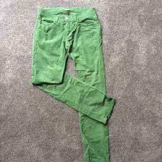 Zara green courderoy jeans