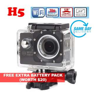 [SALES] Brand New and Quality H5 1080P Full HD @30FPS Action Sports Camera DVR, WIFI Wireless Control, Waterproof 30M Digital Camera, 170 Degree Wide Lens (One Year Warranty) AND FREE ONE EXTRA BATTERY PACK and SAME DAY DOORSTEP DELIVERY @ 75SGD!