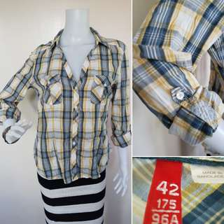 DIVIDED BY H&M PLAID BLOUSE