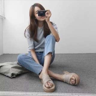 韓國麻底草編交叉涼托鞋