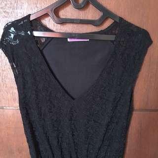 Dress hitam brokat lace - all size fit to M