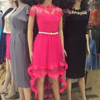 Dress brukat import pink