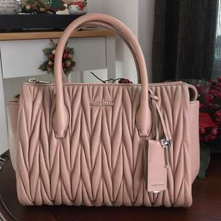 99% New - Miu Miu Matelasse 5BB003 In Cammeo
