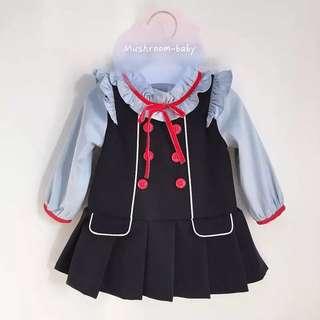 學院風百摺裙加厚加絨連身裙