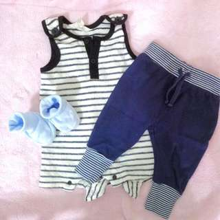 ~*~ FREE  Marine Yacht Baby Clothes Stripes Rompers And pants