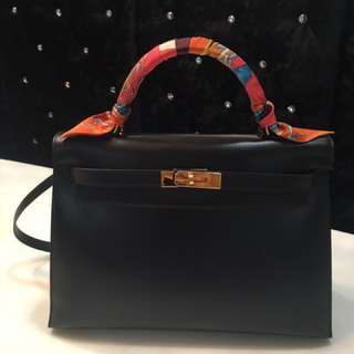 b90335b3bb16 Hermes Vintage Black Kelly 32 Box Leather