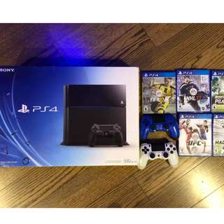 PlayStation 4 - 500gb - w/ 4 Controllers & 5 Games