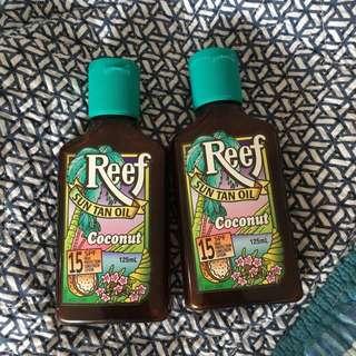 reef sun tan oil x2