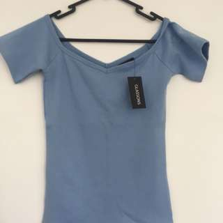 Blue off shoulder top Glassons