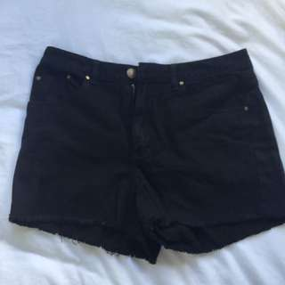 Glassons black denim shorts