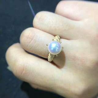 18K Gold 8.5 -9mm Akoya 海水珍珠鑽石介指 可選size,證書 (全部實貨拍攝)
