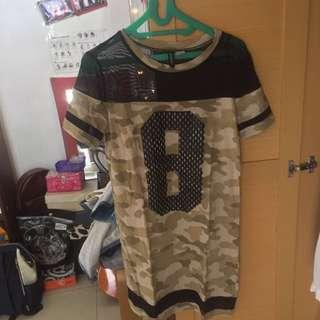 H&M Army Shirt Dress Black Mesh