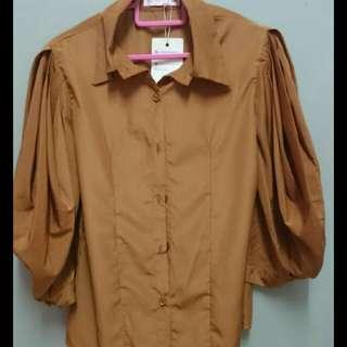 Brown chiffon office blouse #CarouRaya