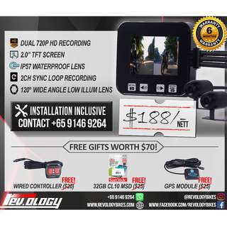 Ready Stock / RevoCam 720p 2017 Motorcycle Front + Back Camera