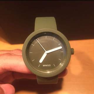 Miniso rubber watch green army