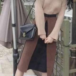 拼色造型長裙