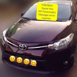 For Rent: Toyota Vios 2017 model(w/ driver)