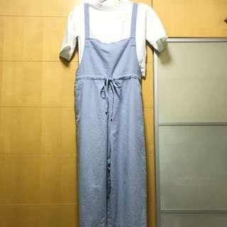 棉麻粉藍色吊帶連身褲 購自韓國