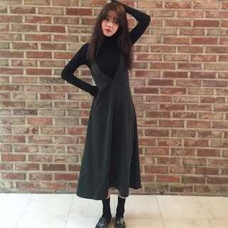 韓國潮牌 StyleNanda 墨綠色背心連身長裙