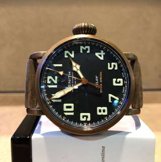 "Authentic Zenith Pilot Type 20 ""Bronzo"" Black Dial Automatic Bronze Casing Leather"