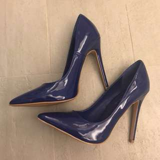 Blue Patent Pumps in Size 7