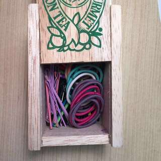 Priced2sell fast!!! Wooden box of bobby pins and hair ties