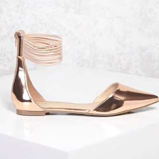 Metallic Pointed Flats, Rose Gold, Size 6.5M