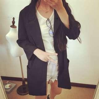 🚚 黑色寬版西裝外套七分袖