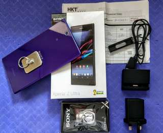 Sony Z Ultra 4G 80% new 紫色  with box, headphones, receipt, all accessories 已過保養