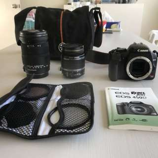 Canon EOS 450D with two lenses