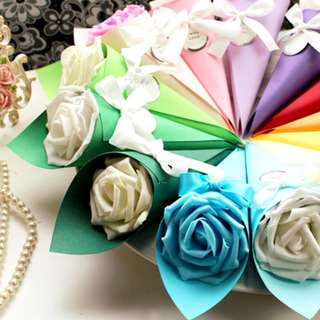 YES SALE PROMO Candy Color Artificial Rose Cone Gift