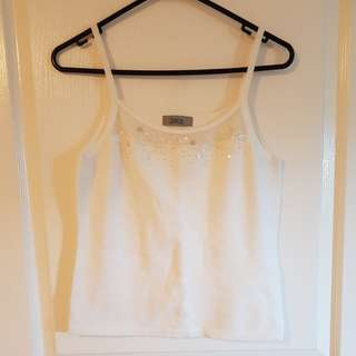 White singlet with beads