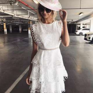 Layered Ruffled White Dress