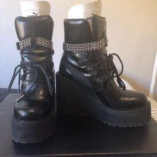 Fenty puma by Rihanna leather wedge chain ankle boots