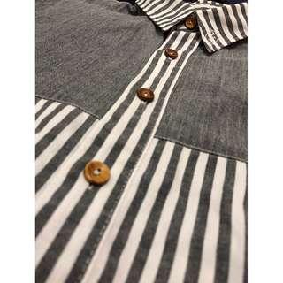 絕版品 Remix 條紋 木釦 拼接 襯衫