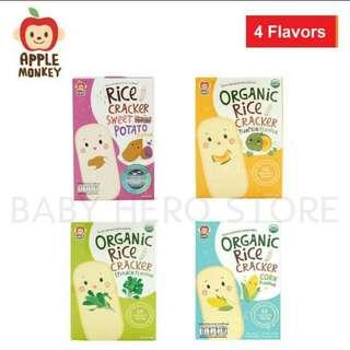 Apple monkey organic rice cracker -4 flavors