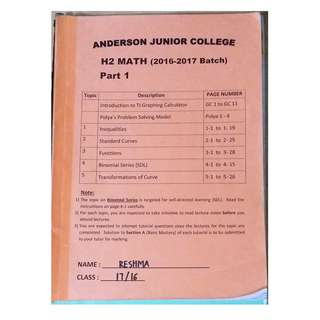 H2 A'Level Maths Notes AJC (All Chapters)